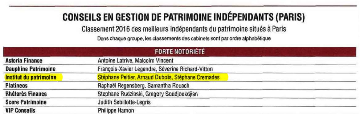 L 39 institut du patrimoine lu parmi les meilleurs cabinets - Cabinet de conseil en gestion de patrimoine ...